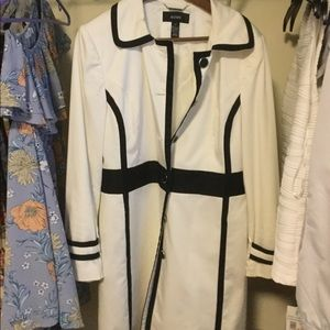 Alfani White Trench Coat with Black Piping